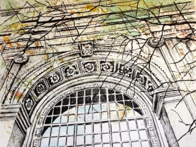 """Arched Window"" Etching, Watercolor"